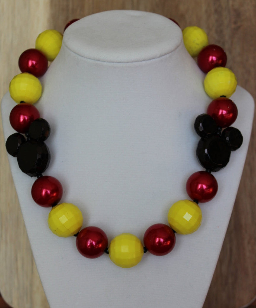Mickey Mouse Inspired Chunky Bubblegum Necklace