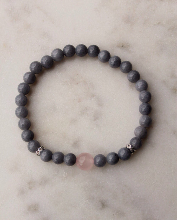 Mashan Jade and Rose Quartz Bracelet