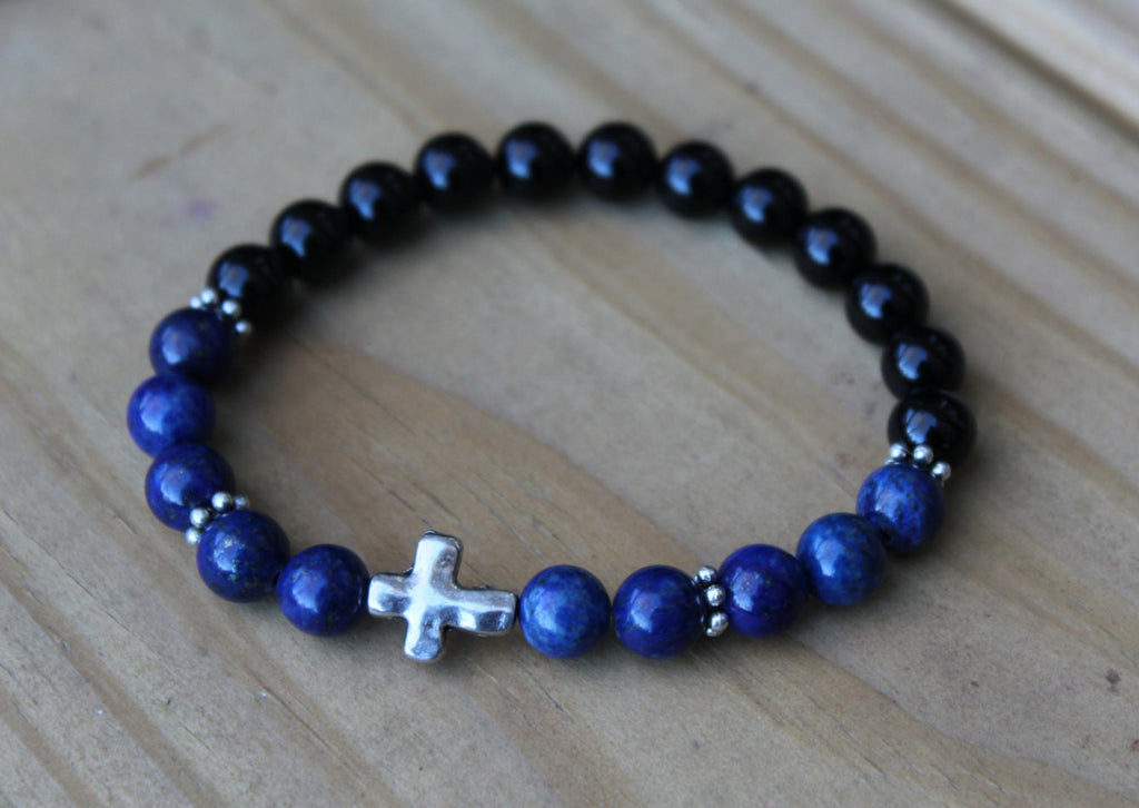Lapis Lazuli and Black Onyx Cross Bracelet