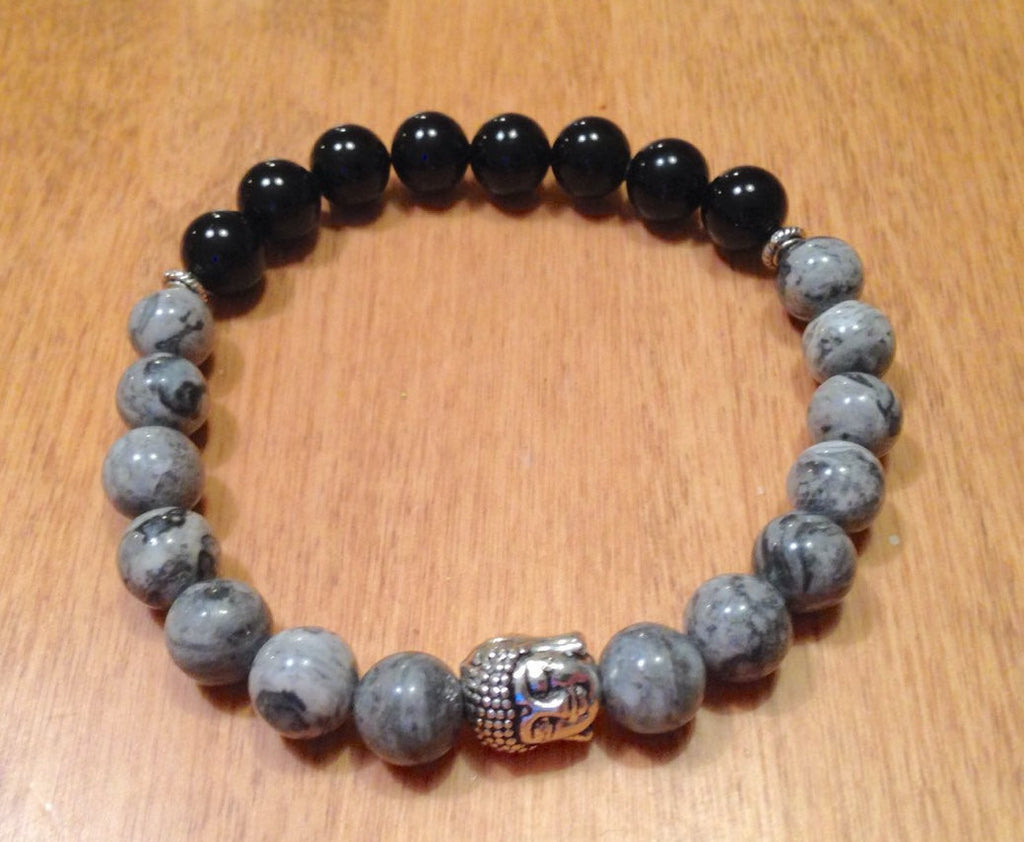 Black Onyx and Scenery Jasper Buddha Bracelet