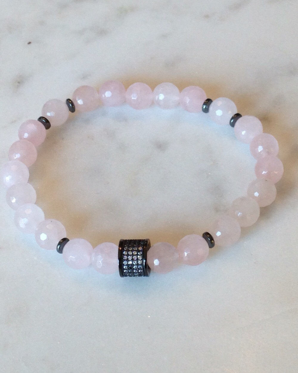 Genuine Rose Quartz and Hematite Bracelet