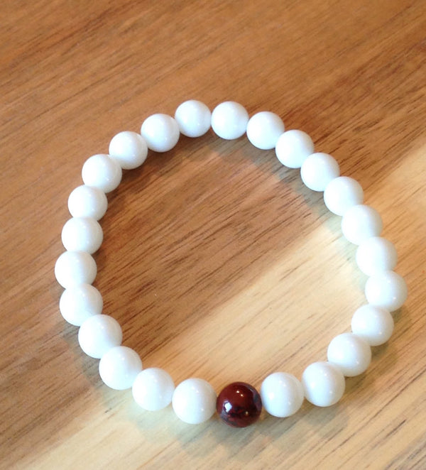 White Jade and Brecciated Jasper Bracelet
