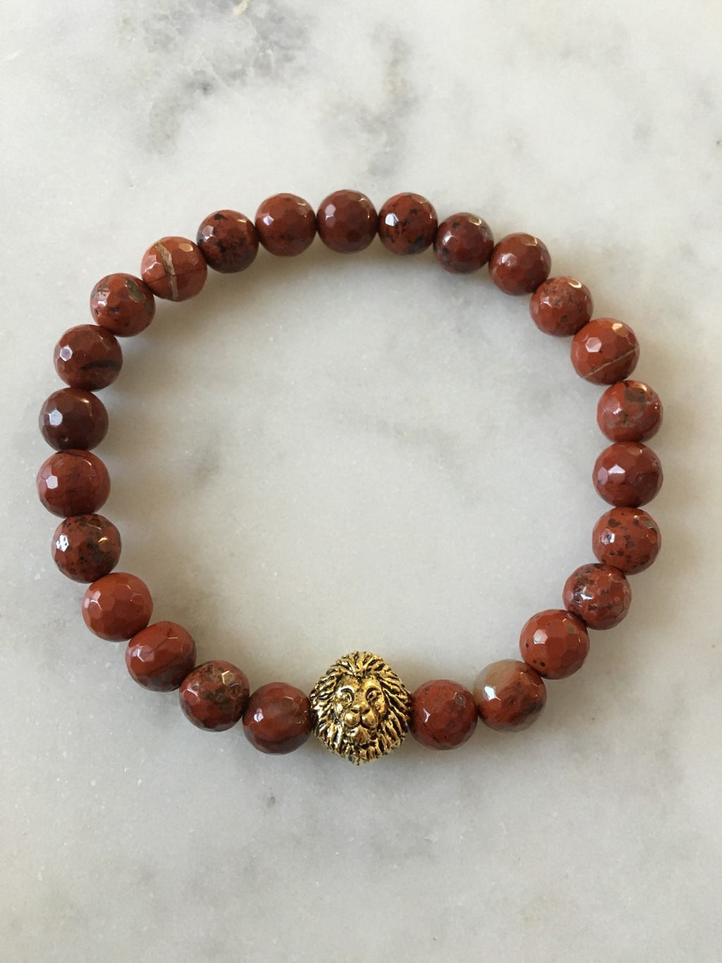 Red Jasper Lion Head Bracelet