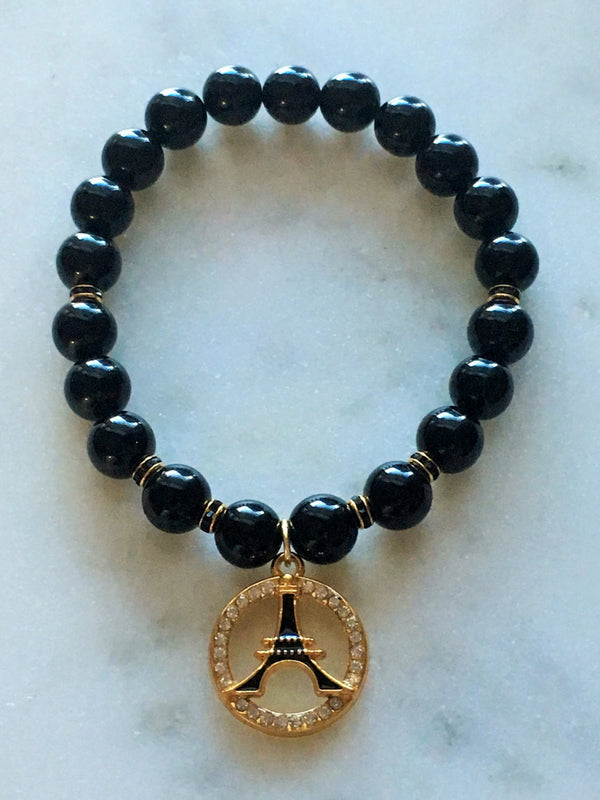 Negativity Defense Bracelet - Black Onyx Eiffel Tower Bracelet