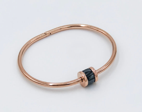 Rose gold and black Austrian crystal bracelet