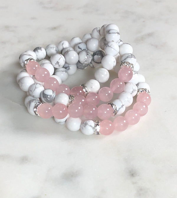 Howlite and Rose Quartz Bracelet