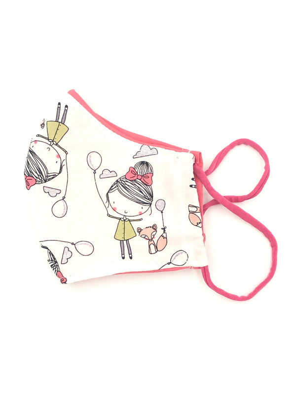 Ready to Ship - Girl with a fox and balloons reversible face mask