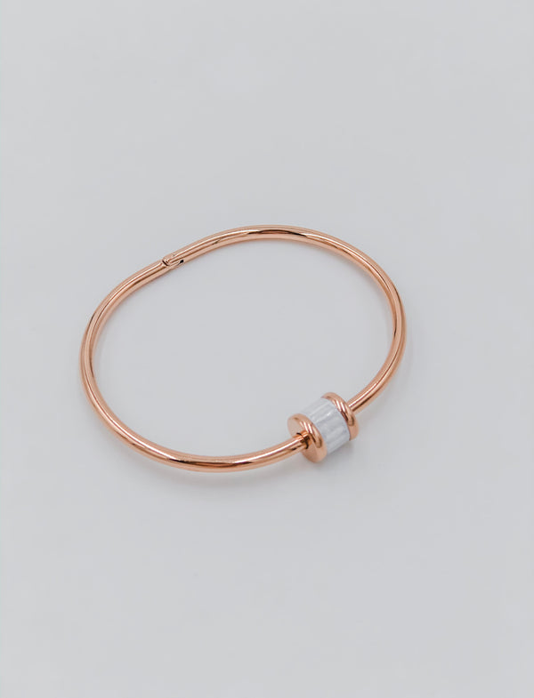 Rose gold and white Austrian crystal bracelet