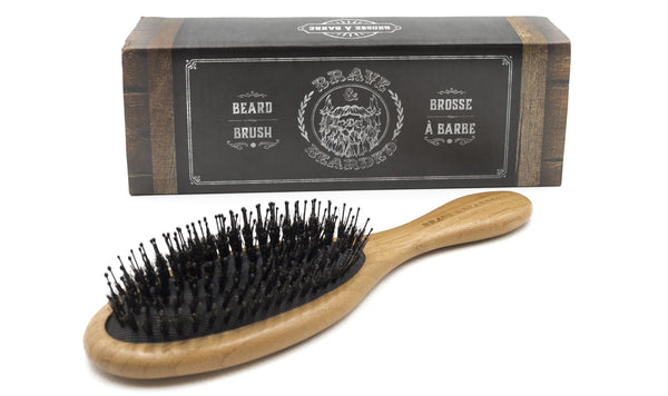 Synthetic and boar bristle brush for long beards