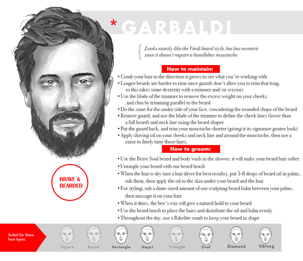 Long beard styles for oval faces - Garibaldi