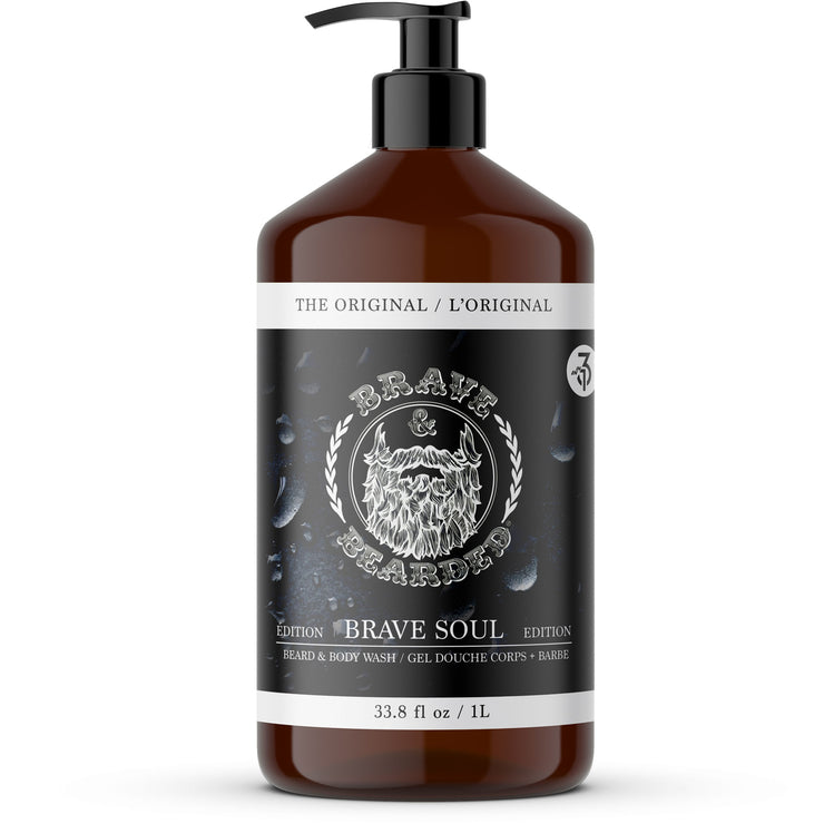 Beard Shampoo and Body Wash by Brave & Bearded - 1L with Pump