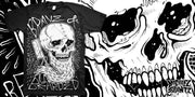 BEARDED SKULL on black T-SHIRT, skull shirt, beard shirt, beard apparel, skull apparel, beard skull clothes, beard skull tshirt, bravenbearded clothes, bravenbearded apparel