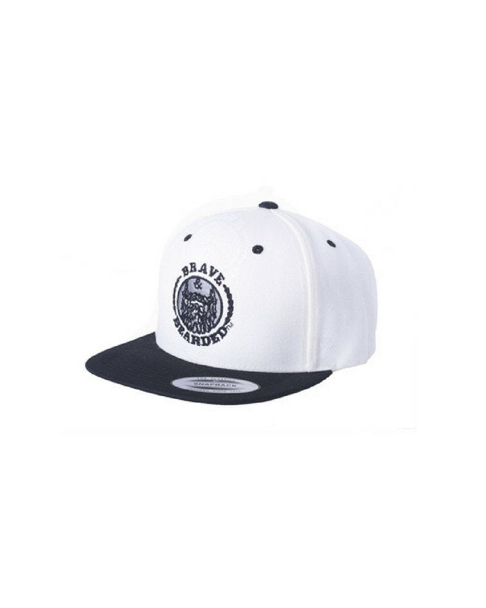 FLAT BILL SNAPBACK CREAM,  bravenbearded snapback, bravenbearded hat, snapback, hat, black snapback, beard snapback, beard hat
