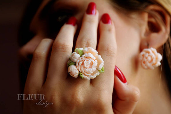Flower Ring and Earrings
