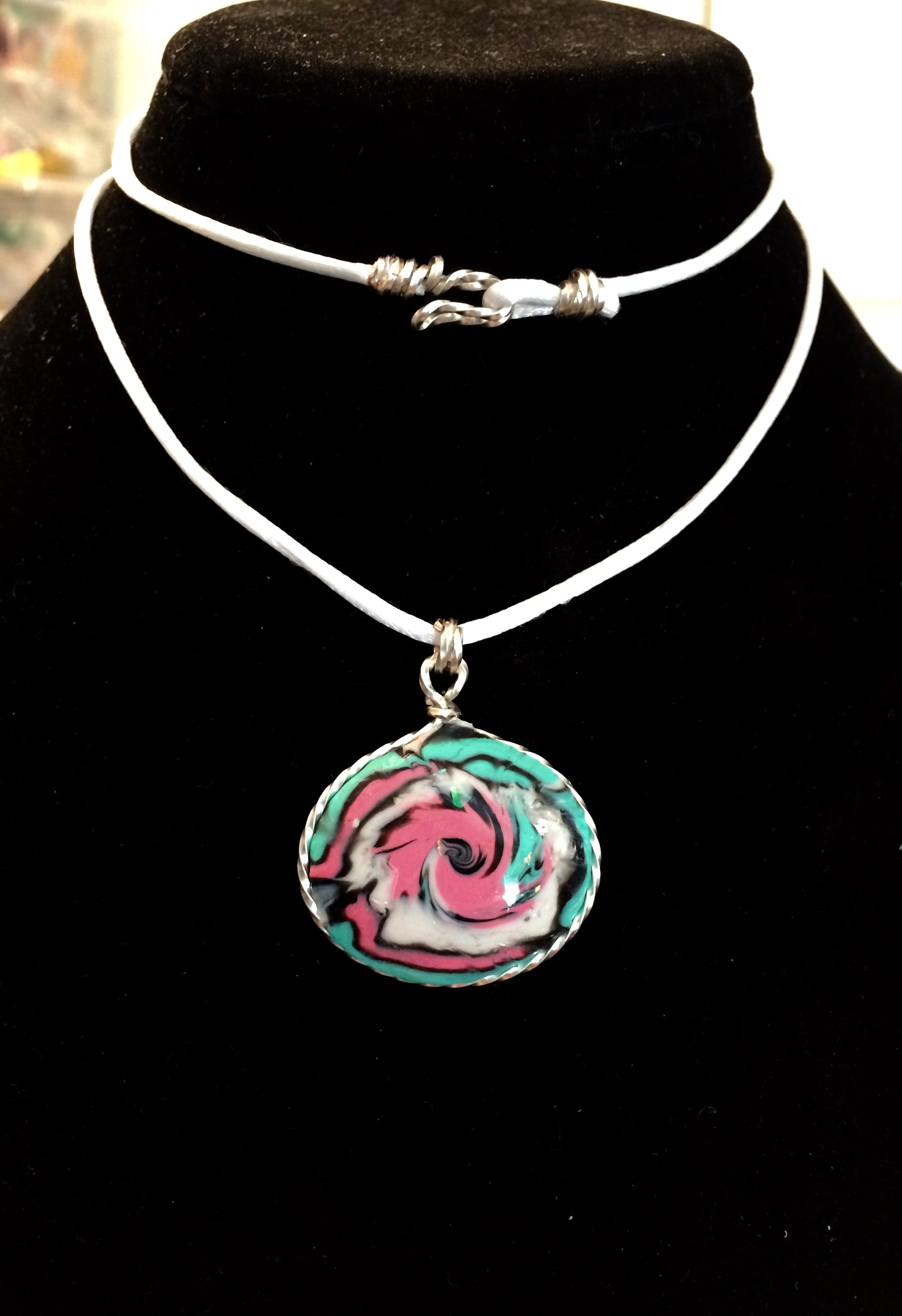 Pink, White, and Blue Swirled Necklace