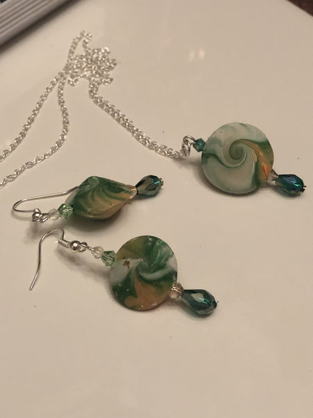 Swirled Earring and Necklace Set