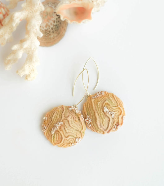 Beige Textured Earrings