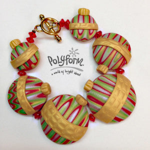 Premo! Sculpey Christmas Ornament Bracelet (Amy Koranek)