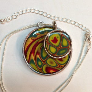 Premo! Sculpey Mokume Gane Double Pendant  Necklace w/ Ice Resin Finish (Amy Koranek)