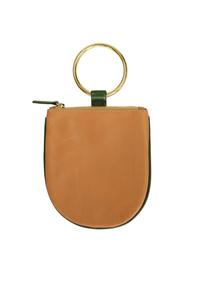 "Ring pouch from Myers Collective's collaboration with Otaat. Cowhide leather pouch, with 3"" ring that slips easily on the wrist. Unlined. Camel body / Jade trim, brass ring."