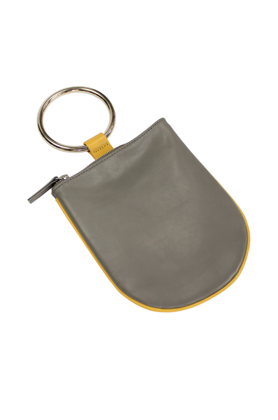 "Ring pouch from Myers Collective's collaboration with Otaat. Embossed cowhide leather pouch, with 3"" ring that slips easily on the wrist. Unlined. Smoke (grey) body / Yellow trim, nickel ring."