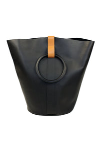 Myers Collective Round Bucket Tote, Large Black