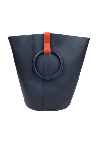 Myers Collective Round Bucket Tote, Large Navy