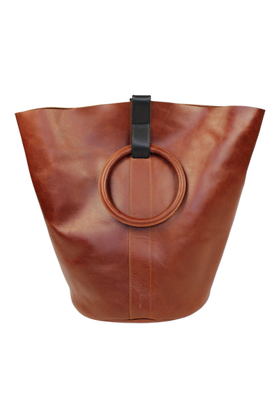 Myers Collective Round Bucket Tote, Large Tobacco