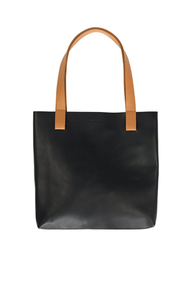 Myers Collective Square Tote Black body / Honey strap