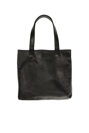 Myers Collective Square Tote Black croc body / Black smooth strap