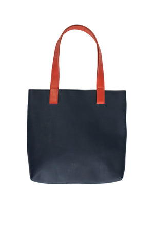 Myers Collective Square Tote Navy body / Brick strap