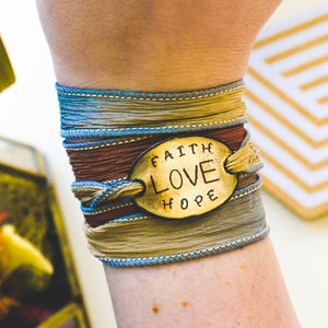Faith Love Hope Silk Wrap Bracelet
