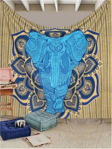 Blue Elephant Queen Tapestry