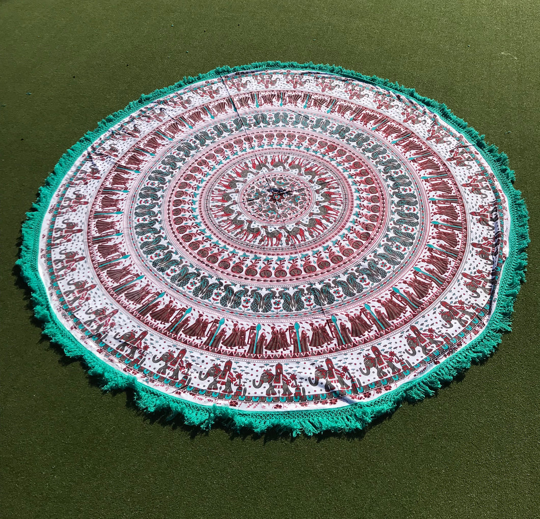 Round Mandala Tapestry with assorted Tassels