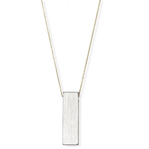 jj+rr 2-Tone Slim Rectangle Necklace 6N37