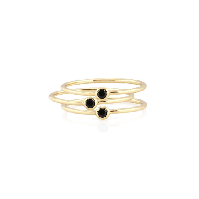 Kris Nations 3 Tiny Onyx Stacking Rings R252-G