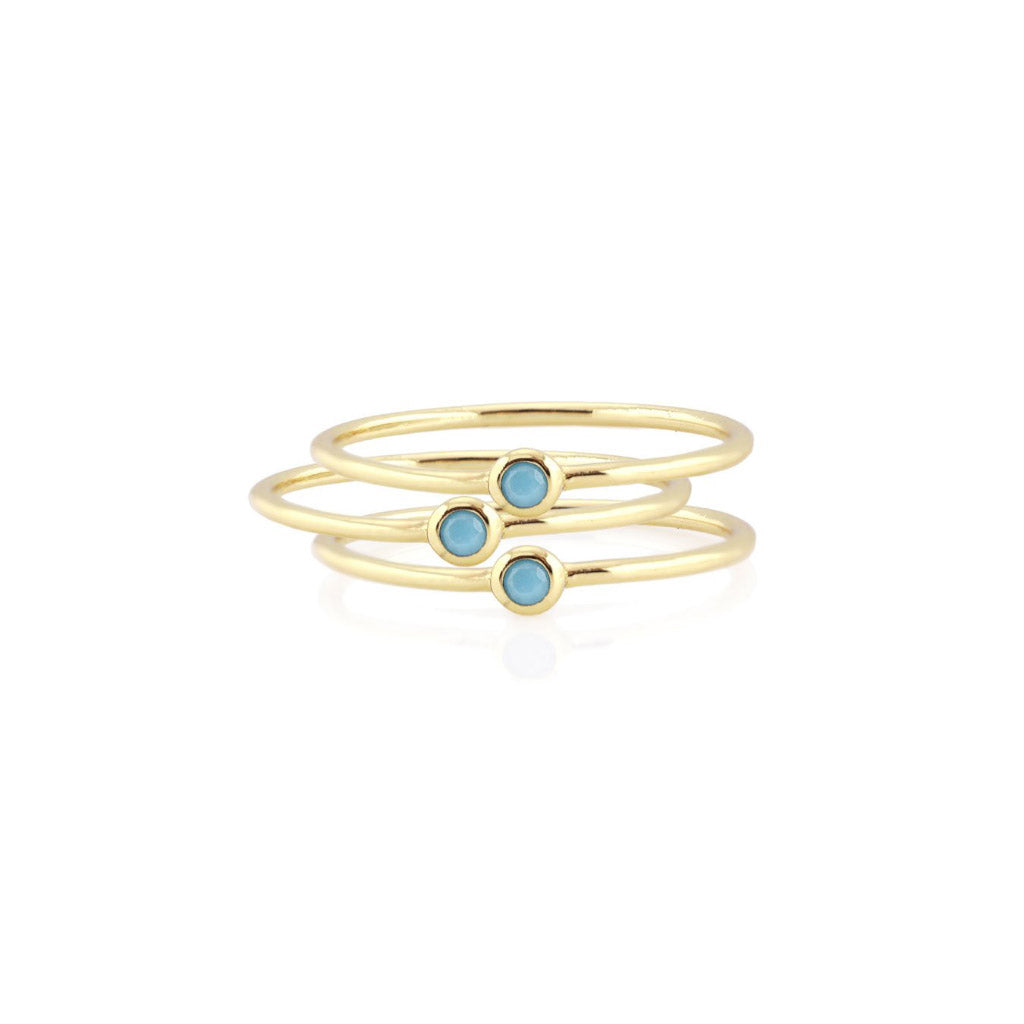 Kris Nations 3 Tiny Turquoise Stacking Rings R252-G