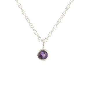 Kris Nations Amethyst Charm Necklace Silver N778-S-AME