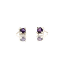 Kris Nations Amethyst Prong Set Studs Silver E669-S-AME