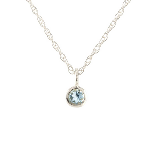 Kris Nations Aquamarine Charm Necklace Silver N778-S-AQUA