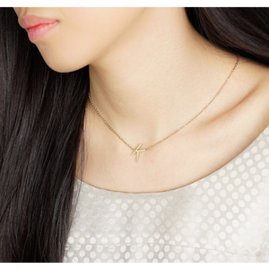 jj+rr Asymmetrical Initial Necklace 'K' Gold 9N10GK