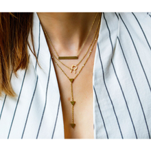 jj+rr Asymmetrical Initial Necklace 'R' Gold 9N10GR