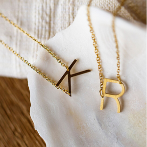 jj+rr Asymmetrical Initial Necklace 9N10