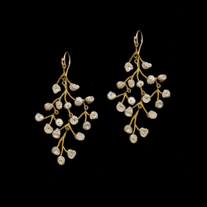 Silver Seasons Baby's Breath Chandelier Earrings 3210BZWP