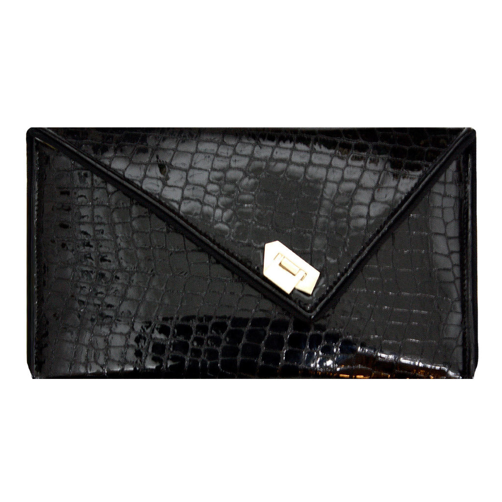 Kent Stetson Black Croco Leather Handbag