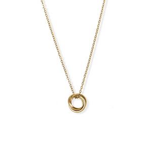 jj+rr Brushed Triple Ring Necklace Gold 4N25-G