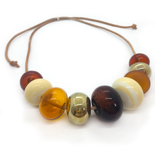Alicia Niles Bubble Amber/Ivory/Gold Necklace GR019AMIV