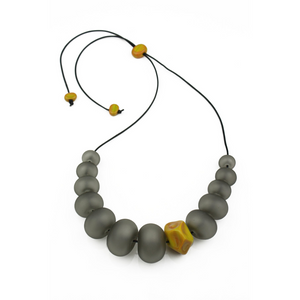 Alicia Niles Bubble & Nugget Grey/Ochre Necklace BU48GRYL
