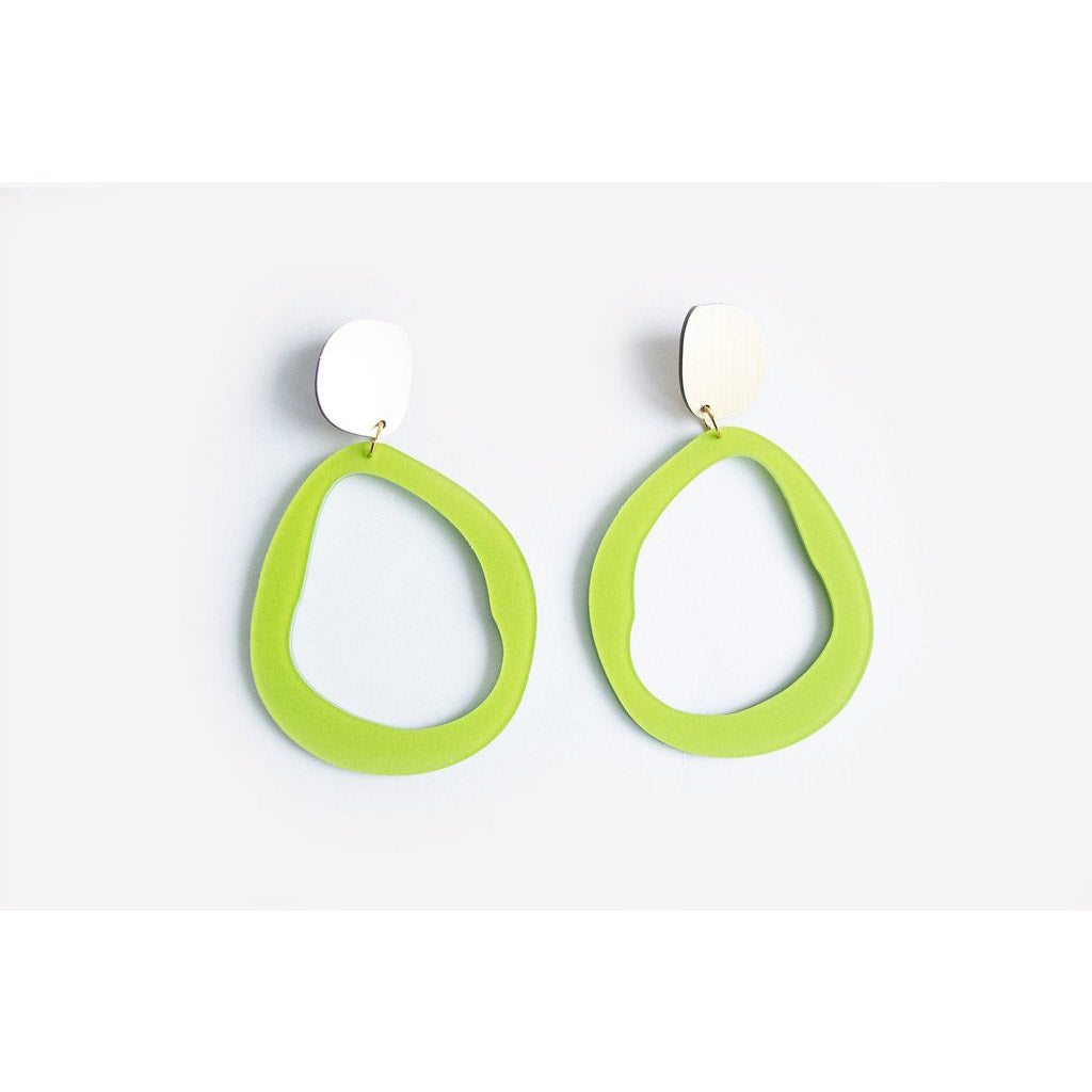 dconstruct Chartreuse Large Fluid Drop Earrings CH-EFLDRPL-G