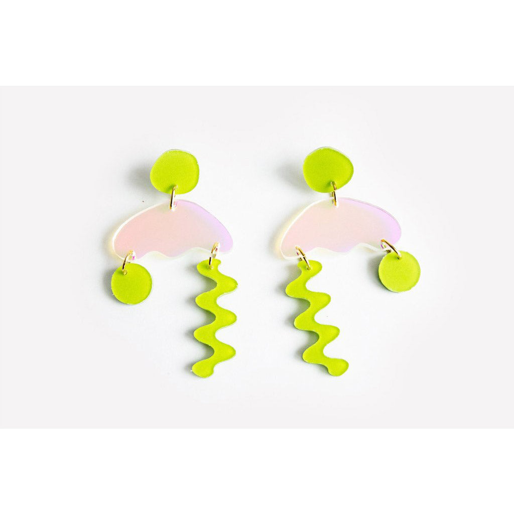 dconstruct Chartreuse Solar Squiggle Storm Earrings CH-SO-ESQSTO